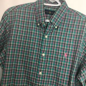 Ralph Lauren check turquoise pink cotton shirt SzM